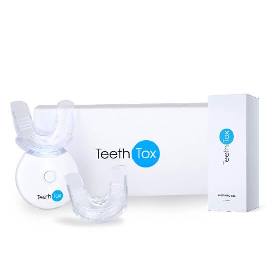 TeethTox Kit f�r Zahnaufhellung | Bis zu 8 Nuancen wei�ere Z�hne | Aufhellungsgel (3x10mL) und LED-Licht | Sensilab